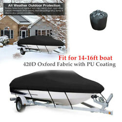 14-16ft Boat Cover Mat Trailerable 420d Oxford Waterproof Marine W/fixed Straps