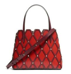 2150 Valentino Small Beehive Tote Red Leather Shoulder Bag