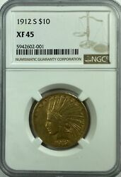 1912 S 10.00 Gold Indian Ngc Xf 45 11970