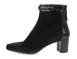 Aquatalia Marvin K Takeout Womens Black Snake Print Suede Ankle Boots Size 8