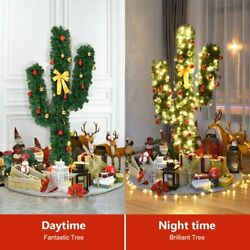 Costway 5ft Pre-lit Cactus Christmas Tree Led Lights Ball Ornaments Decor Indoor