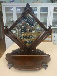 Rare Antique Sorcerers Mirror. Unique Diamond Shape, Carved Wood Frame And Stand