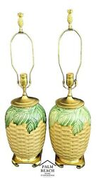 2 Ceramic Tropical Coastal Ming Asian Style Faux Woven Wicker Leaf Table Lamps