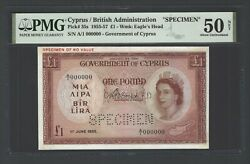 Cyprus One Pound 1-6-1955 P35s Specimen About Uncirculated