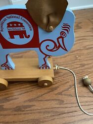 New Orleans Rnc 1988 Political Memorabilia Elephant Pull Toy - Limited Edition