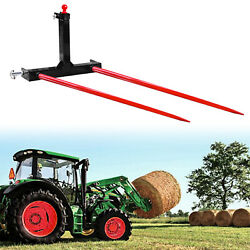 Category 1 3 Point Tractors Trailer Hitch Bale Spear W/ 2x 49 Hay Bale Spear