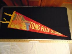 Vintage 1960's Felt Pennant Toms Place California Dine In Mammoth Lakes Calif Ca