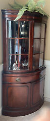 Pair Of Drexel Mahogany Bow Glass Corner China Cabinet Hutch Curio Cleveland, Oh