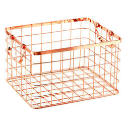 Metal Wire Dirty Clothes Basket Laundry Storage Bin Baskets With 2 Handles