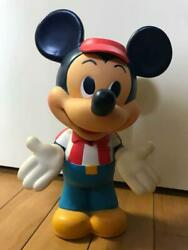 Used Soft Vinyl Figure Mickey Mouse Piggy Bank Doll Limited Extremely Rare