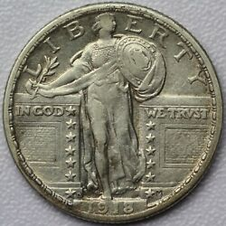 1918-d 25c Standing Liberty Quarter - About Uncirculated