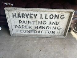 Vintage Metal Advertising Trade Sign Painting And Paper Hanging Hand Painted Sign