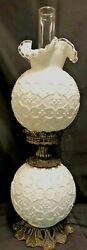 Fenton Milk Glass Spanish Lace Double Globe Gwtw Lamp--very Hard To Find