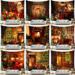 Xmas Santa Claus Wall Hanging Fireplace Christmas Tree Background Cloth Tapestry