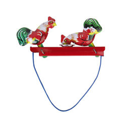 Retro Cock Rooster Fighting Figures Tin Toy Collectible Gift Manual Movement