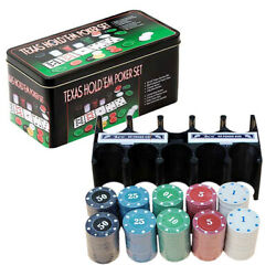 200pcs Texas Hold'em Poker Game Set With Mat Chips Deck Cards And Gift K8g5