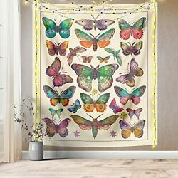 New Butterfly Tapestry Vintage Beige Vertical Tapestries Aesthetic Tapestry