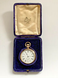 Lovely Antique Gold Plated Waltham Ensign Pocket Watch Fully Working And Boxed