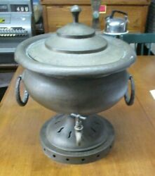 Large Vintage Hand Hammered Brass Tea Or Coffee Urn- Made In Italy 18 Tall