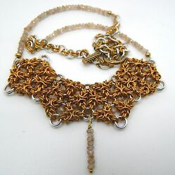 Hand-made Brass And Aluminium Chain Maille With Real Natural Faceted Zircon Beads