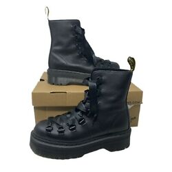 Dr. Martens Womens Trevonna Black Ribbon Lace Round Toe Eye Boots Size 8