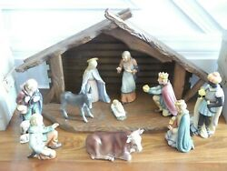 Vintage Goebel Hummel 10 Piece 214 Nativity Figurine Set With Stable And 6 Boxes