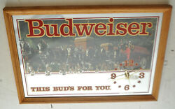 Vtg Budweiser Clydesdale This Buds For You Mirror Advertising Clock Sign 19.5