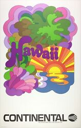 Original Vintage Poster Hawaii Continental Airline Travel Peter Max Style Linen