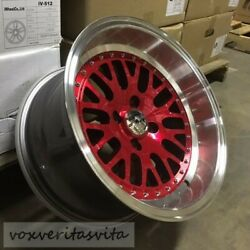 15 Lm20 Style Red Wheels Rims Aggressive Fitment 15x8 +0 Offset 4x100