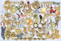 57 Piece+ Vintage Gold And Silver Tone Figural Brooch Pin Lot +free Avon Bracelet
