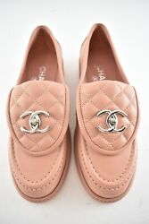 21b Pink Silver Quilted Flap Turnlock Cc Logo Mule Slip Flat Loafer 40.5