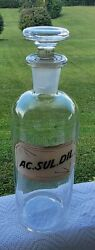 9 Vtg Apothecary Bottle Glass Label Flat Top Stopperrx T.c.w Pharmaceutical