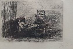 Offer Recand039d Jozef Israels 1824-1911 Rare Pencil Signed Etching Listed To352000