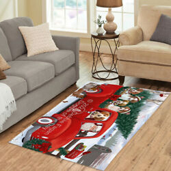 Christmas Santa Express Delivery Red Truck Brittany Spaniel Dogs Area Rug