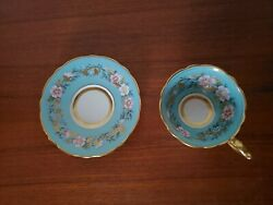Vintage Royal Stafford Garland Tea Cup And Saucer Hand Painted Gilded Rims 18