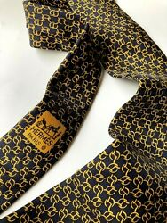 Hermes Vintage Initial H Gold Black Chains Tie High End France Rings Circles