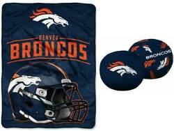 Denver Broncos Official 11 Double Sided Pillow Plus 46x60 Throw
