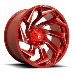 4-new 24 Fuel D754 Reaction Wheels 24x12 5x5/5x5.5/5x139.7 -44 Red Milled Rims