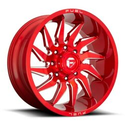 4-new 24 Fuel D745 Saber Wheels 24x12 8x180 -44 Red Milled Rims 124.3
