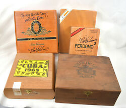 Lot Of 5 Old Vintage Wood Cigar Boxes 2 Are Signed Autographed