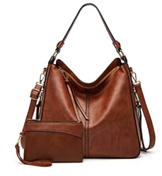 Hobo Bags for women Faux Leather Handbags Large Crossbody Bag Brown New $37.70