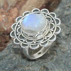 Natural Moonstone Gemstone 925 Sterling Silver Ring Jewelry A1763