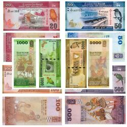 Set Of Banknotes Sri Lanka Rupees Unc Ceylon Beauty Currency Real Paper Money