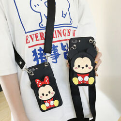 For Apple Iphone Covers 3d Cute Lovers Mouse Crossbody Wallet Lanyard Phone Case