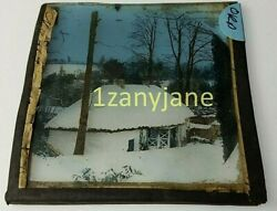 Glass Magic Lantern Slide Orp Ireland Cabin In The Woods Cottage In The Snow