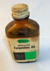 Vintage Turpentine Oil, Rectified, Carroll Chemical Co. 2 Oz. Amber Bottle