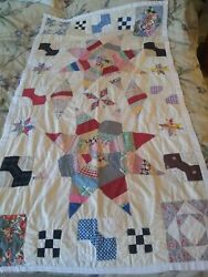 Vintage Quilt Farmhouse Table Cover Hand Stitched Star 9 Square Bow Tie 40x 58