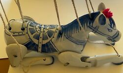Vintage Blue And White Ceramic Articulating Horse Marionette Puppet Hand Painted
