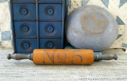 Antique Wood Rolling Pin Cupboard Blue Paint No. 5 Stencil