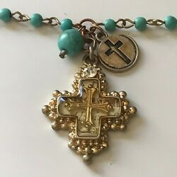 Chain Bead Necklace with Cross Pendant Charms Approximately 21quot; Long